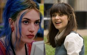 The female leads. From left to right: Clementine (Kate Winslet) of Eternal Sunshine of the Spotless Mind and Summer (Zooey Deschanel) of (500) Days of Summer